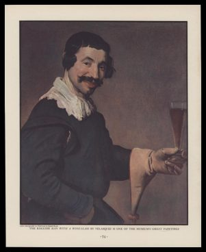 1938 Roguish Man With a Wine Glass by Diego Velasquez Vintage Print