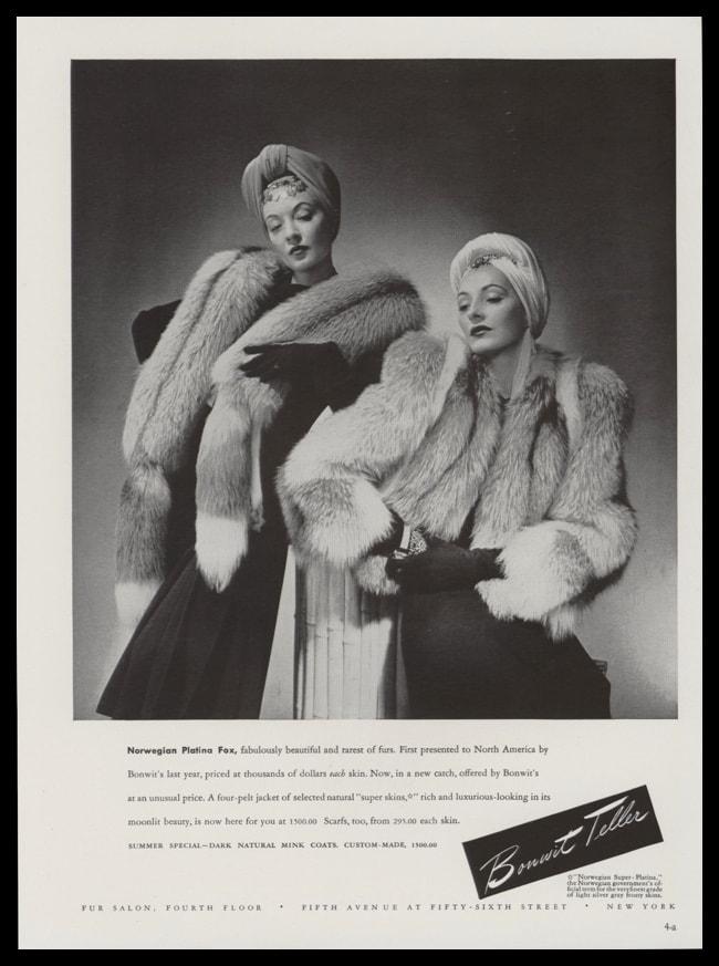 1940 Bonwit Teller Furs Vintage Ad - Norwegian Platina Fox