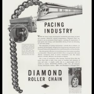 1936 Diamond Roller Chain Vintage Print Ad - Streamliner Train Art