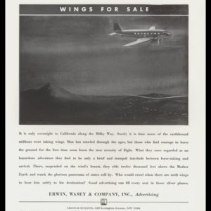 "1936 Erwin, Wasey & Co. Advertising Vintage Ad - ""Wings for Sale"""