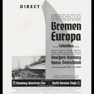 "1936 Hamburg-American Line / North German Lloyd Vintage Ad - ""Direct"""