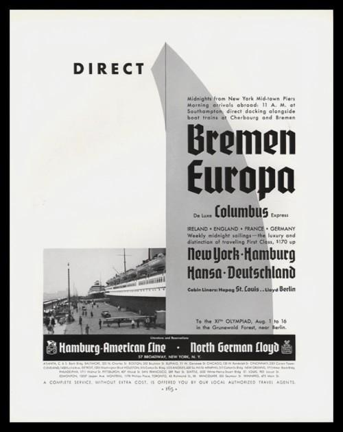 "1936 Hamburg-American Line / North German Lloyd Vintage Ad - ""Direct"""