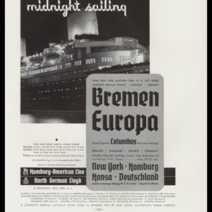 1936 Hamburg American Line / North German Lloyd Vintage Ad - Midnight Sailing