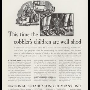 "1936 Vintage Ad for NBC Radio with a black and white art illustration of a cobbler at work and an inset of children's legs with nice shoes and the headline, ""This time the cobbler's children are well shod."