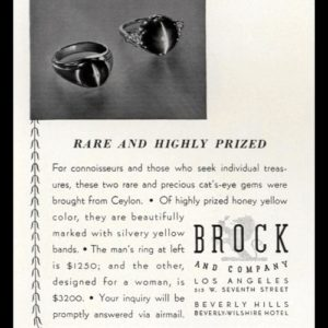 1938 Brock and Co. Jewelers Vintage Ad - Cat's Eye Rings
