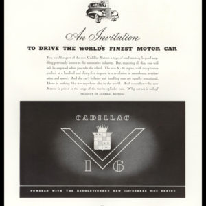1938 Cadillac Sixteen Vintage Ad - V-16 with the Cadillac emblem in the center