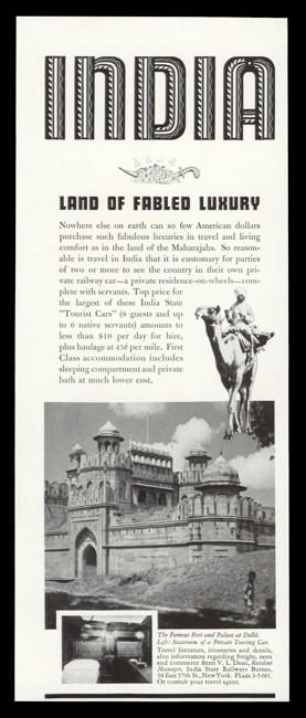 1938 India State Railways Vintage Ad - Delhi Fort Photo