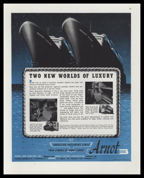 1947 American President Lines vintage ad - illustration Ships SS President Cleveland and SS President Wilson.