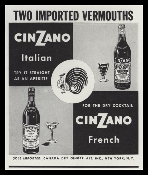 "1947 Print Advertisement for ""two imported vermouths"" from Cinzano, one french and the other Italian."