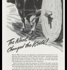 "1947 Harrisburg Steel Corp Ad with Egyptian oxcart illustration - tagline, ""The wheel that changed the world!"""