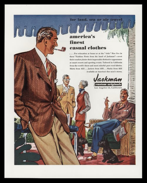 1947 Jackman Custom Originals Vintage Print Ad - Men's Casual Clothing displayed in a country club type setting.