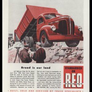 1947 Reo Motors Vintage Ad – Dump Truck Art