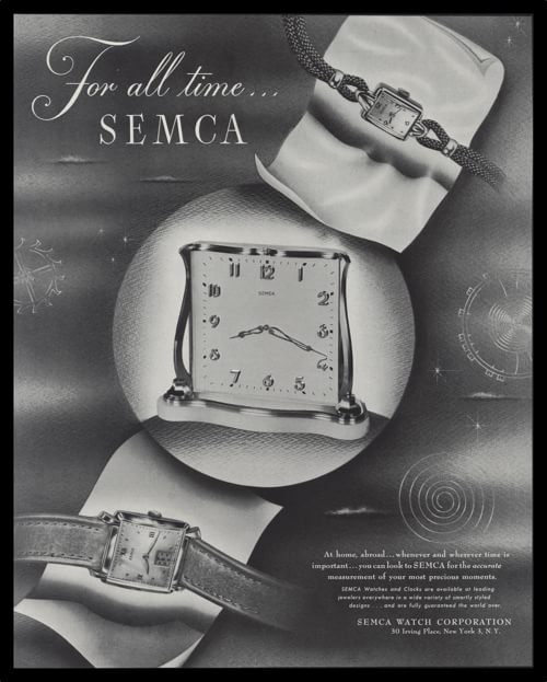 "1947 SEMCA Watches and Clocks Vintage Ad - ""For All Time"""