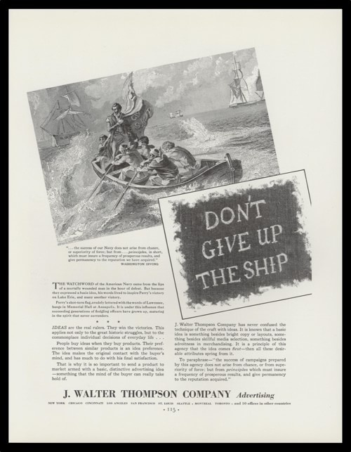 1936 J. Walter Thompson Co. Vintage Ad - Don't Give Up the Ship