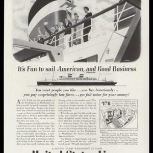 1936 United States Lines Vintage Ad - Rolf Klep Art