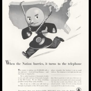 1942 Bell Telephone Vintage Ad - WWII Conservation