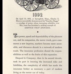 1942 Despard & Co. Insurance Brokers Vintage Ad - Gasoline Buggy