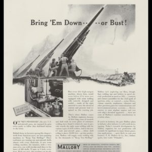 1942 P. R. Mallory & Co. Vintage Ad - Anti-aircraft Gun