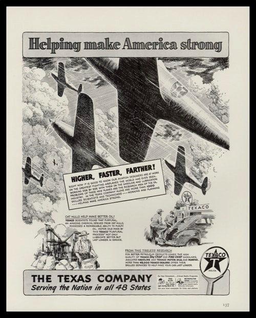 1942 Texaco Vintage Ad | Fighter Plane Art