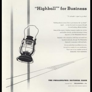 1948 Philadelphia National Bank Vintage Ad - Highball for Business