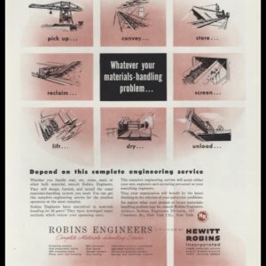 1948 Robins Engineers Vintage Ad - Materials Handling
