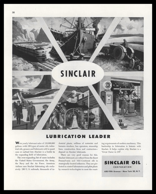 "1948 Sinclair Oil Corp. Vintage Ad - ""Lubrication Leader"""