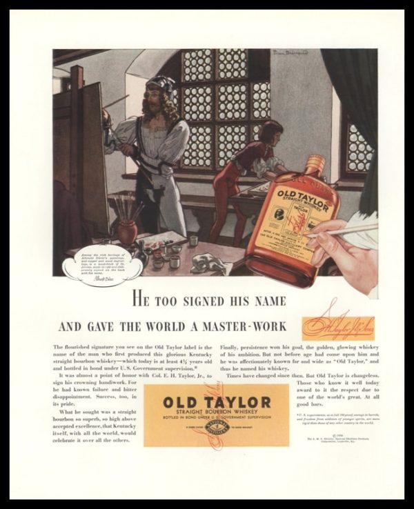 1936 Old Taylor Bourbon Vintage Ad | Pierre Brissaud Art