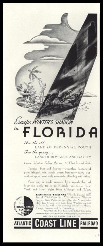 1938 Atlantic Coast Railroad Vintage Ad - Florida Travel