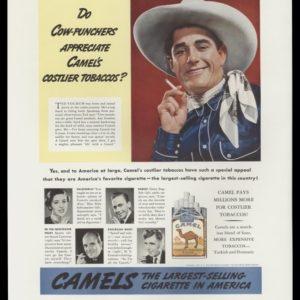 "1938 Camel Cigarettes Vintage Ad - ""Cow-punchers"""