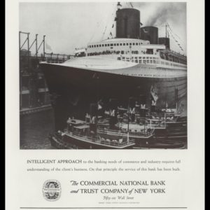 1938 Commercial National Bank and Trust Co. of New York Vintage Ad - SS Normandie
