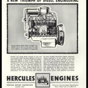 1938 Hercules Engines Vintage Ad - Engine Art