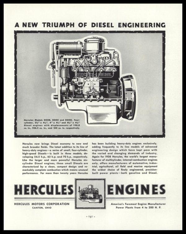 1938 Hercules Engines Vintage Ad - Engine Art