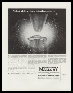 1938 P.R. Mallory & Co. Vintage Ad - Welding Art