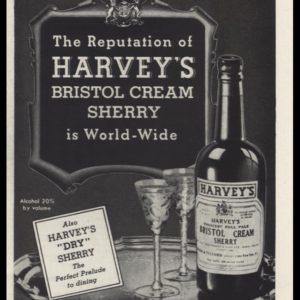 1942 Harvey's Bristol Cream Sherry Vintage Ad - World-wide Reputation
