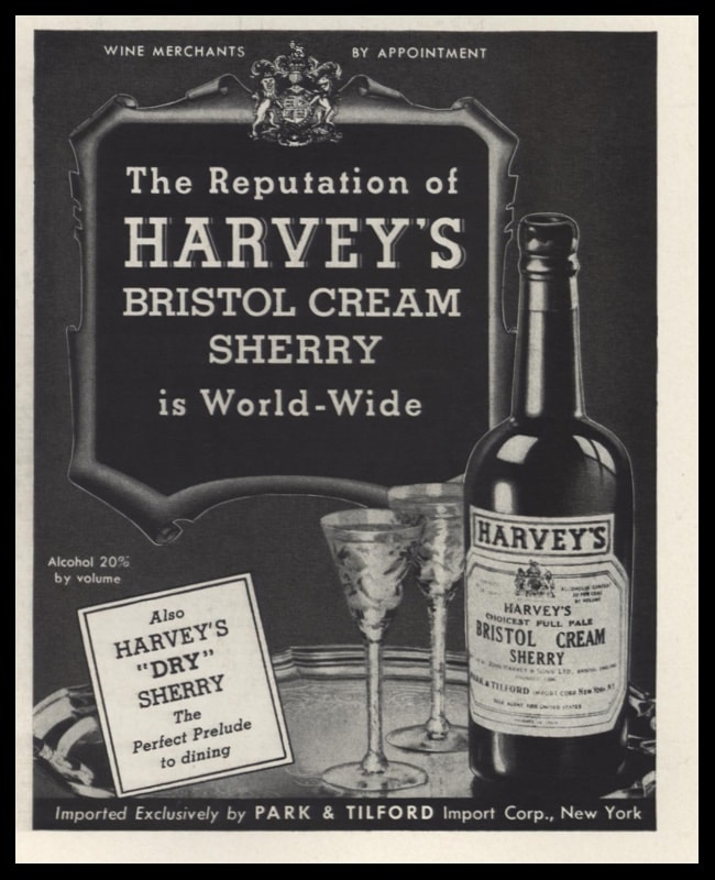 1942 Harvey's Bristol Cream Sherry Vintage Ad - World-wide Reputation