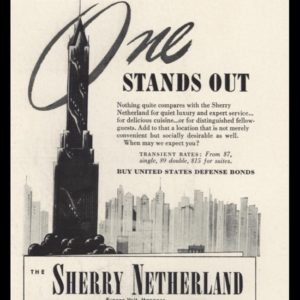 """1942 Sherry Netherland Hotel Vintage Ad - """"Stands Out"""""""