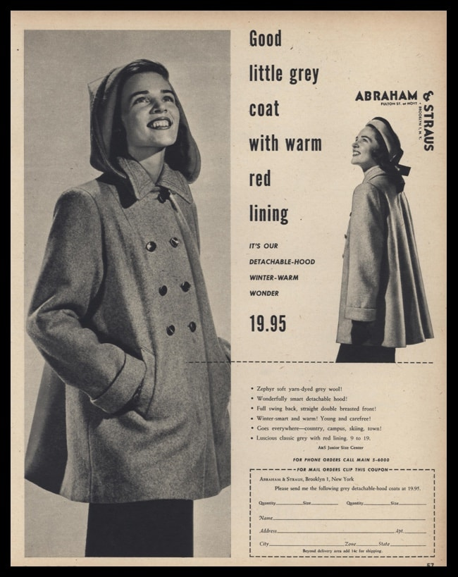 super specials modern style top-rated official 1947 Abraham & Straus Vintage Ad | Ladies Winter Coat