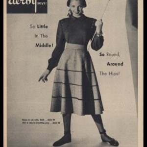1947 Derby Sportswear Shirt 'n Skirt Vintage Ad | enticing young lady holding an arrow