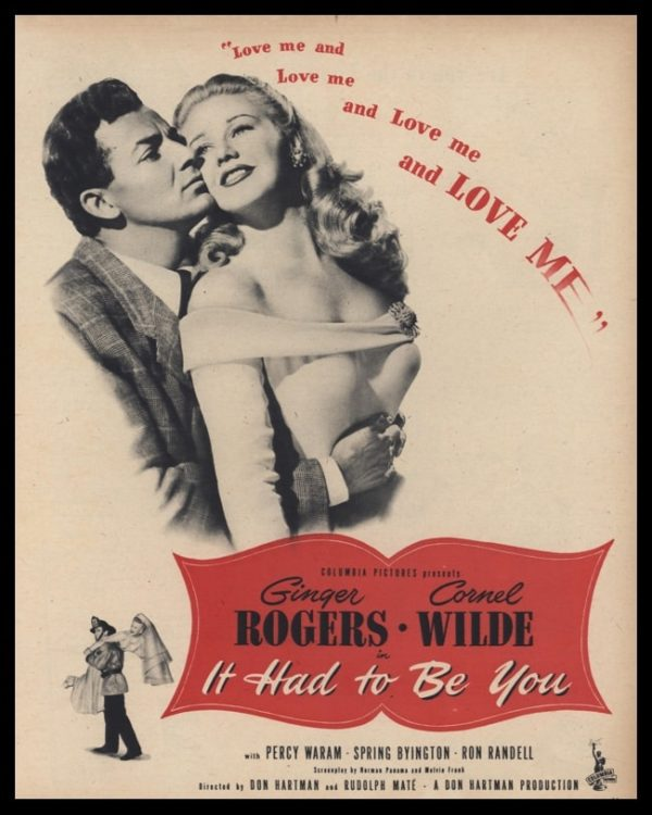 1947 Movie 'It had to Be You' Vintage Ad - Ginger Rogers