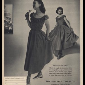 1947 Woodward & Lothrop Vintage Ad - Ann Fogarty Dance Dress