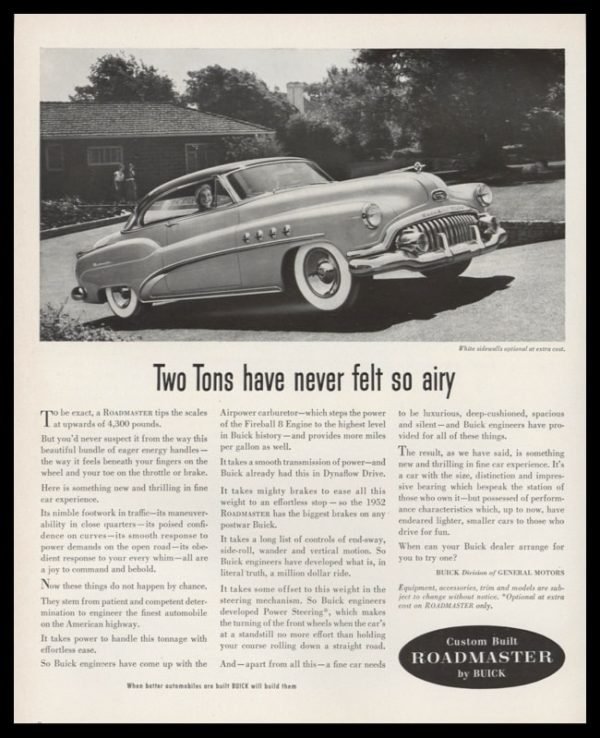 1952 Buick Roadmaster Vintage Ad | Riviera Coupe