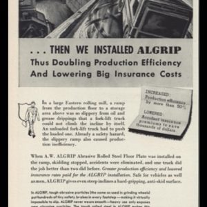 1953 Alan Wood Steel Agrip Floor Vintage Ad | Forklift Art