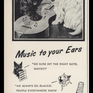 "1953 Black & White Scotch Whisky Vintage Ad | ""Music to your Ears"""