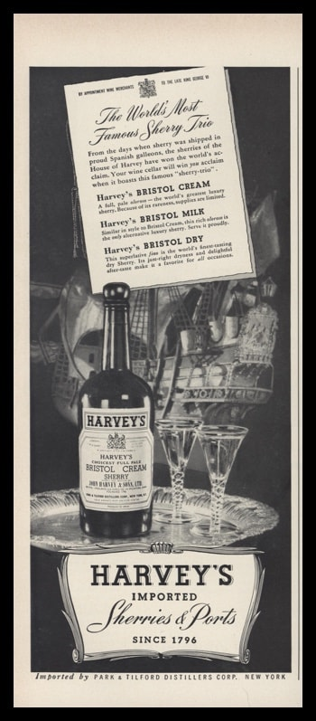1953 Harvey's Sherries & Ports Vintage Ad | Galleon