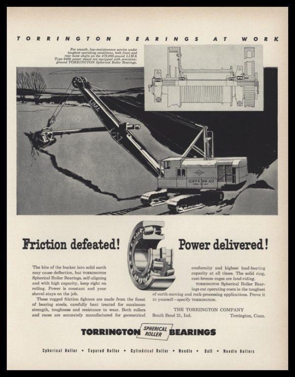 1953 Torrington Bearings Vintage Ad | Track Hoe