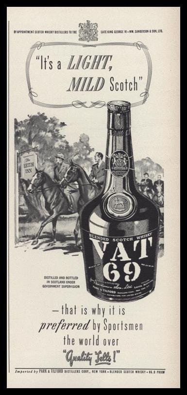 1953 VAT 69 Scotch Vintage Ad | Equestrian Art