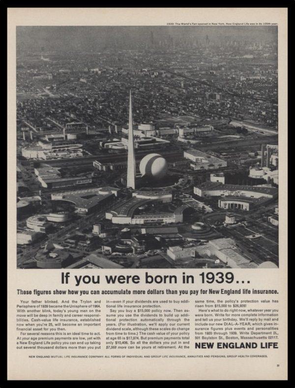 1964 New England Life Vintage Ad - 1939 World's Fair