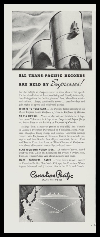 1935 Canadian Pacific Line Vintage Ad | Empresses