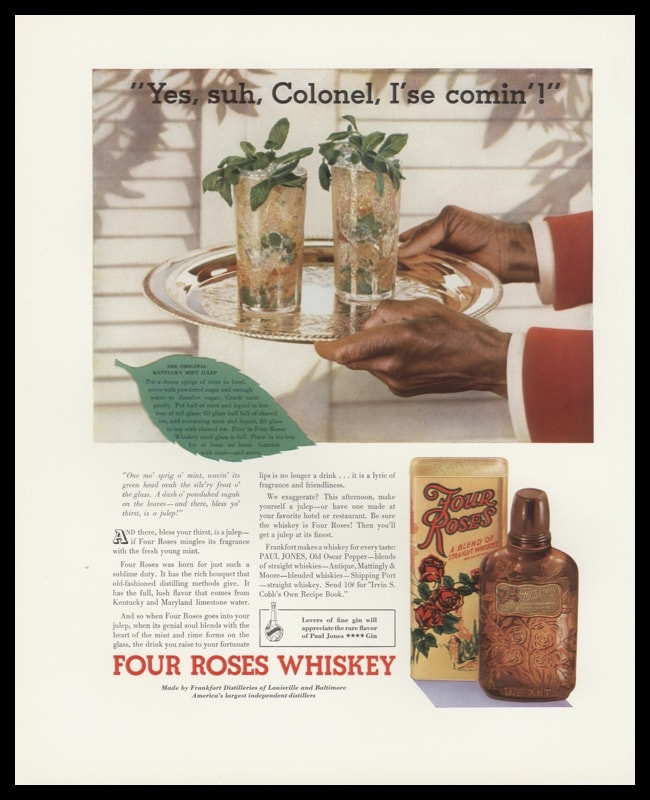 1935 Four Roses Whiskey Vintage Ad | Mint Julep