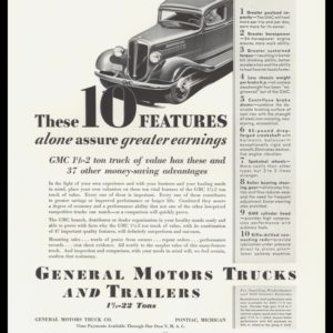 1935 GM Trucks and Trailers Vintage Ad | 1.5-2 ton Truck
